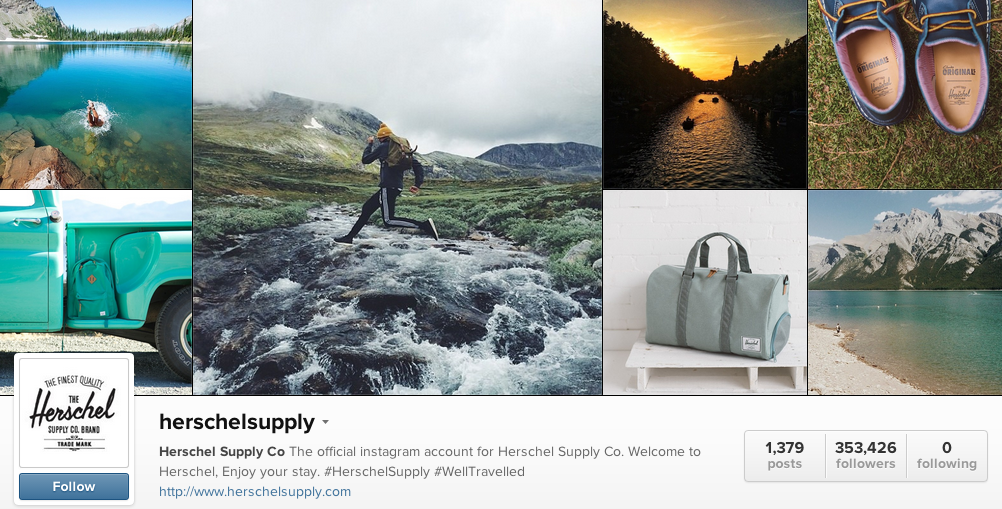 Instagram Herschel Example, Social Media